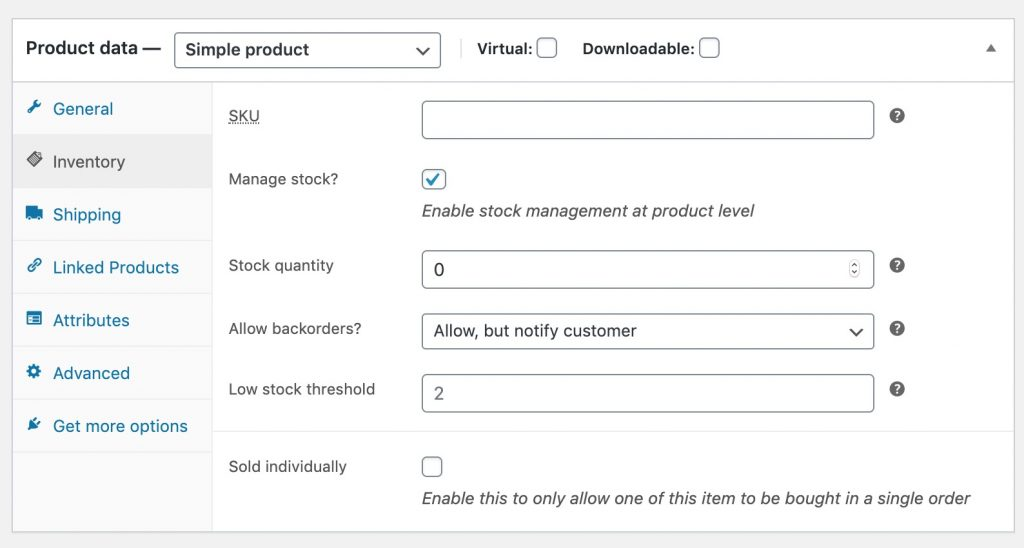 enable backorder for out of stock products