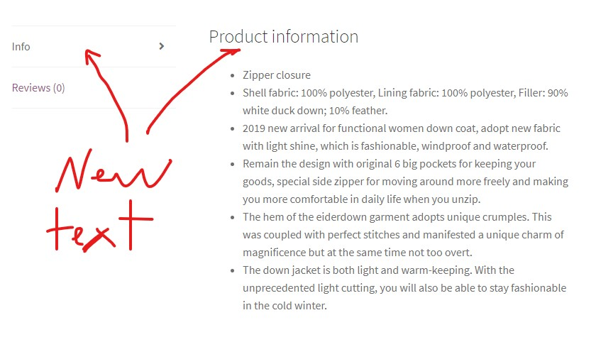 product page description tab title and heading updated