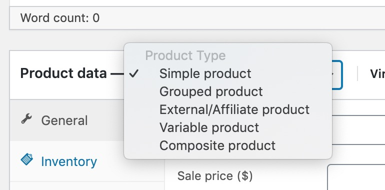 select composite product type to create woocommerce composite product