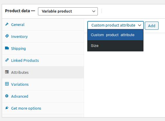 Select size attribute and add to the product