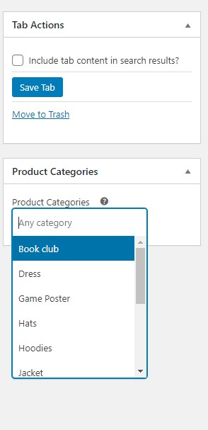 select the list of categories that the tab is visible