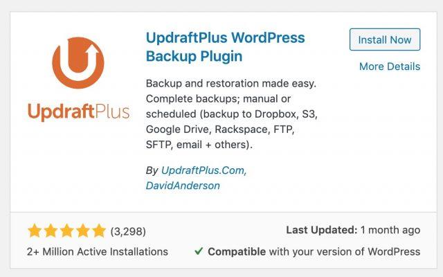 updraft plus woocommerce backup tool