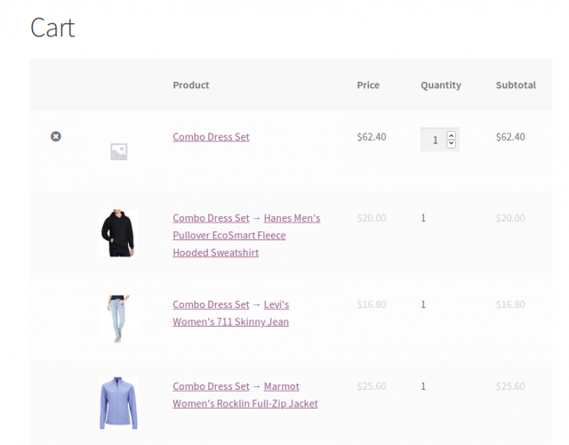 woocommerce combo products in cart