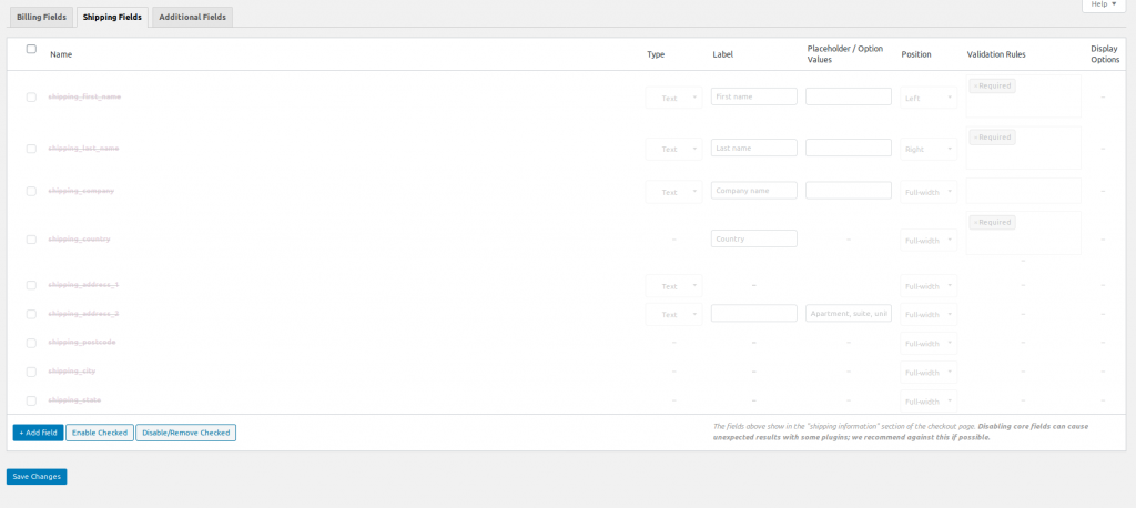 woocommerce.com WooCommerce checkout field editor shipping section
