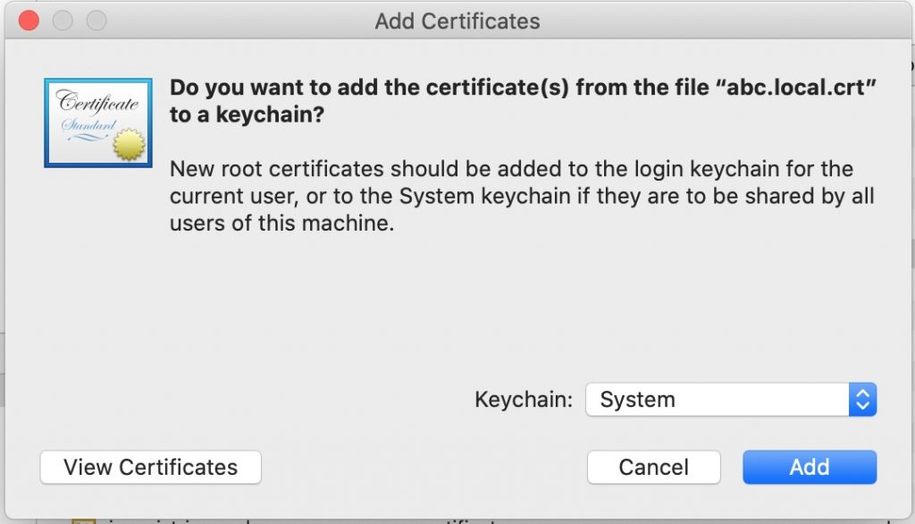 Install the certificate
