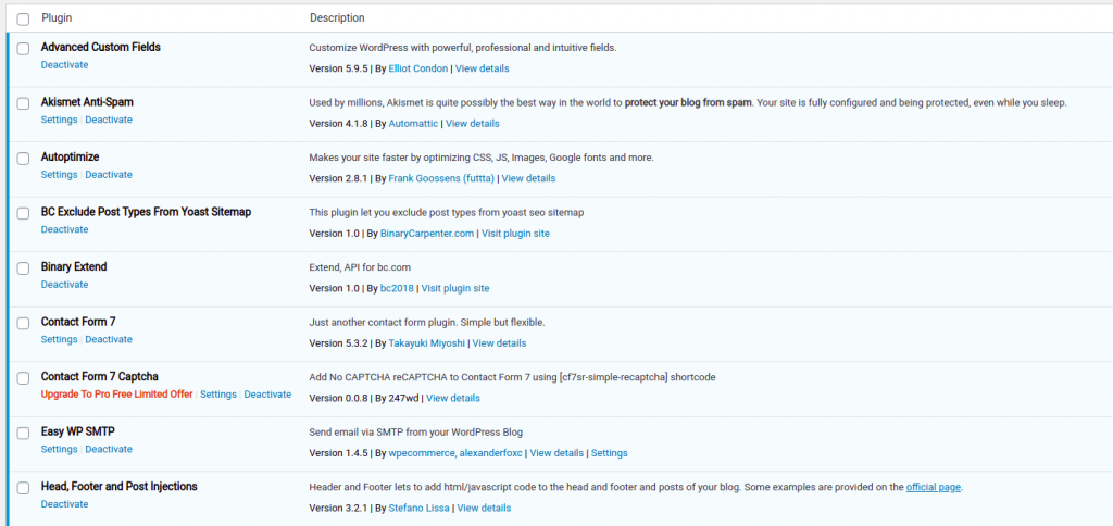 List of plugins on my site