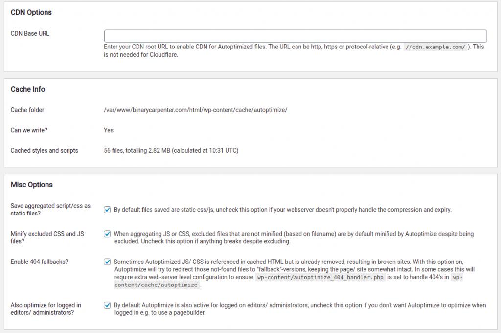 my autoptimize settings part 3