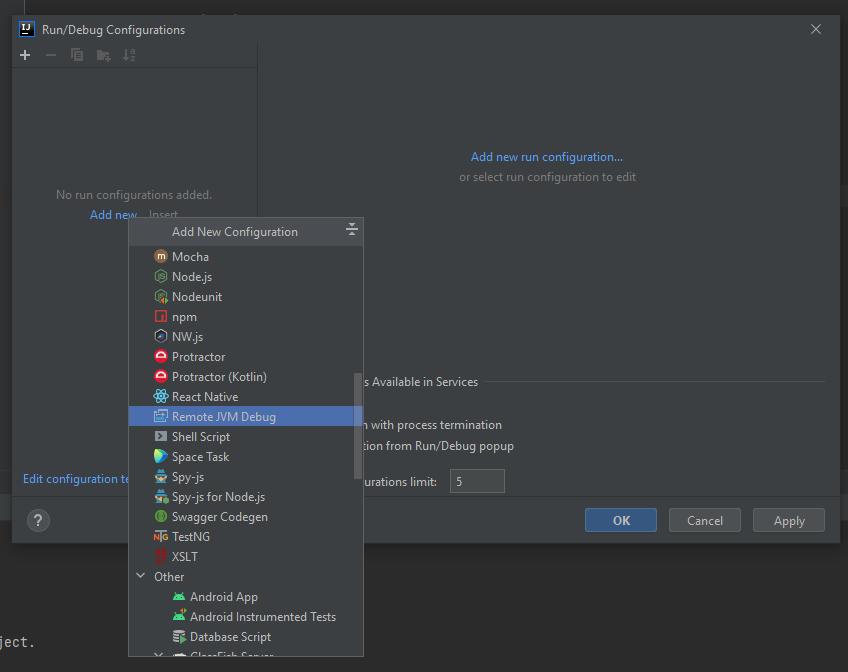 Create JVM debugging profile