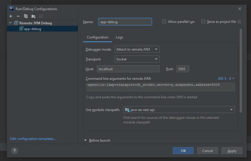Create debug options for JAX-RS app